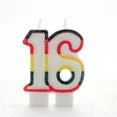 Multicoloured Age 16 Candle
