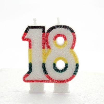 Multicoloured Age 18 Candle