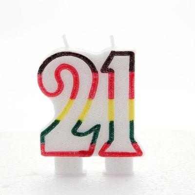 Multicoloured Age 21 Candle