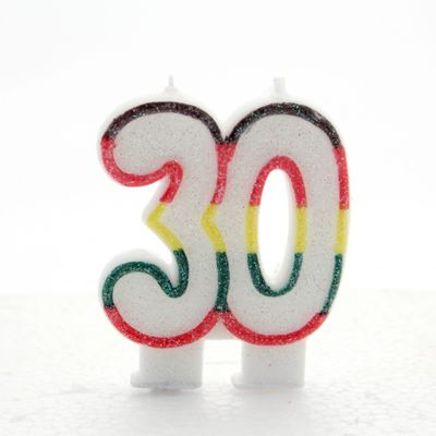 Multicoloured Age 30 Candle