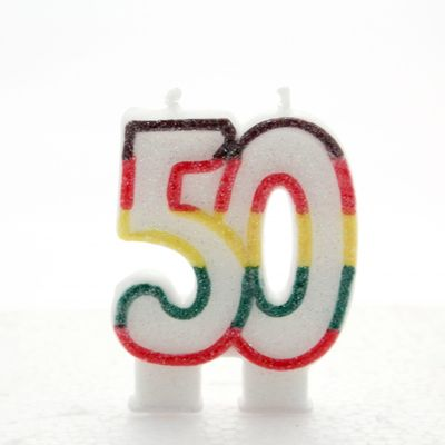 Multicoloured Age 50 Candle
