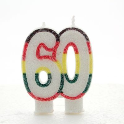 Multicoloured Age 60 Candle