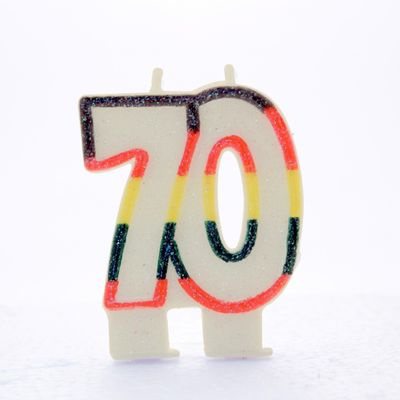 Multicoloured Age 70 Candle