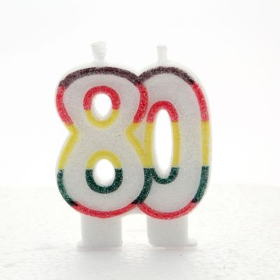 Multicoloured Age 80 Candle