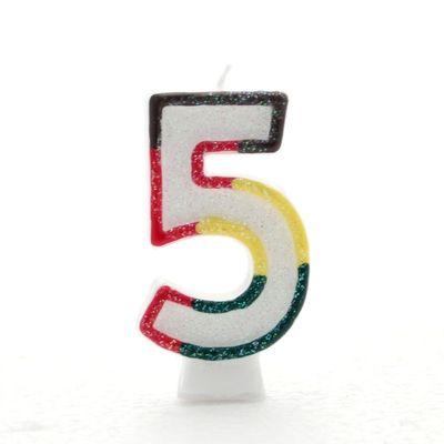 Multicoloured Number Candle 5