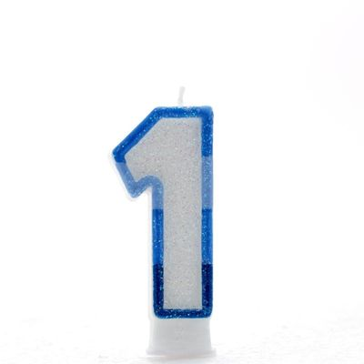 Blue Number 1 Candle