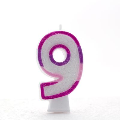 Pink Number 9 Candle