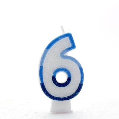 Number 6 Blue Candle