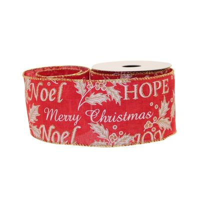 Merry Christmas Red Ribbon 63mm