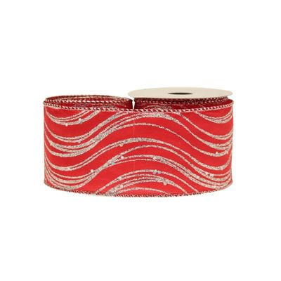Red Glitter Satin With Silver Waves 63mm