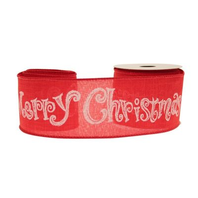 red cotton ribbon, with a lovely christmas motif