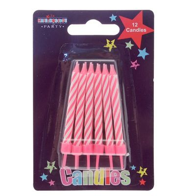Pink and White Stripe Party Candles