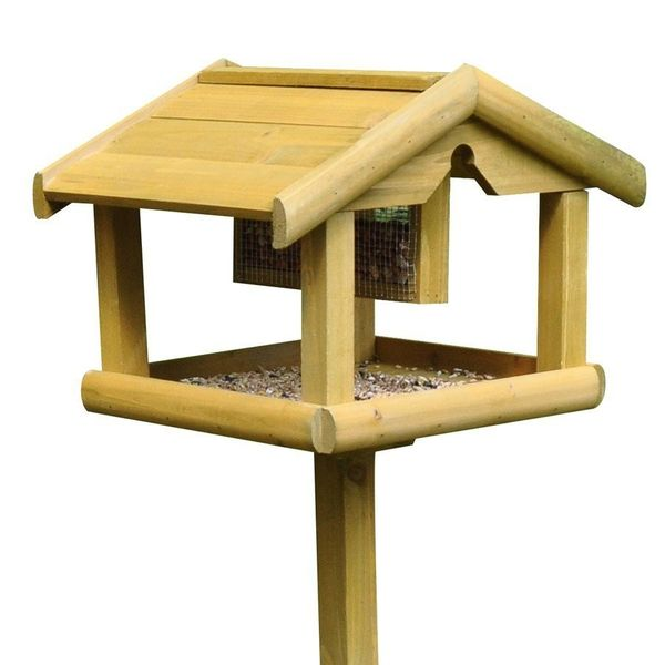 Kingfisher Wooden Bird Table with Feeder