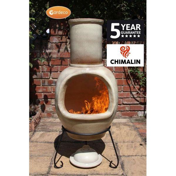 Gardeco Asteria Chimalin Clay Chimenea - In use 2