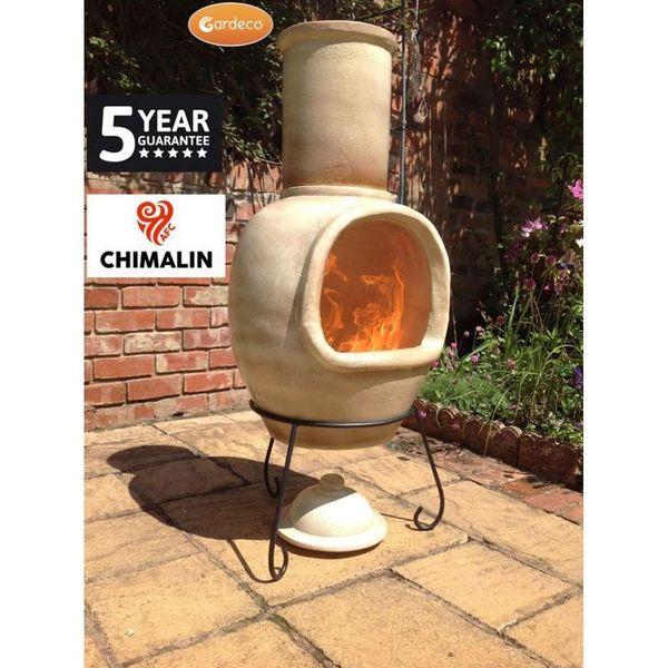 Gardeco Asteria Chimalin Clay Chimenea - In use 3