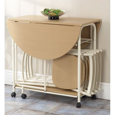 Gablemere Stowaway Dining Set - ButterMilk - Folded - Close Up