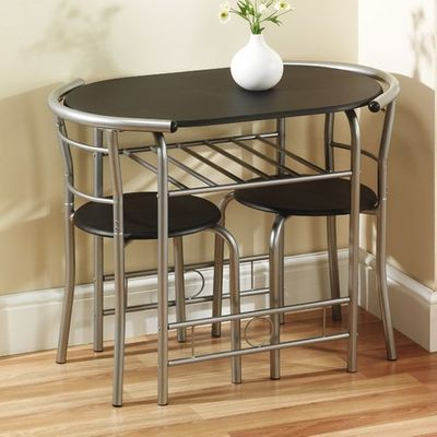 Gablemere Compact Dining Set - Black and Silver