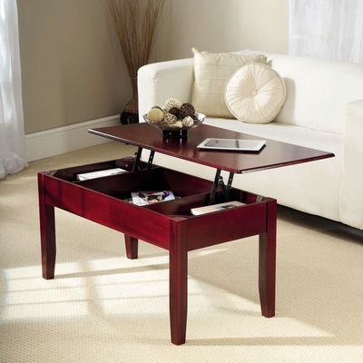 Gablemere Lift Up Coffee Table - Mahaogany - In Use