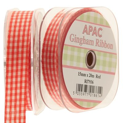 Orange Gingham Ribbon