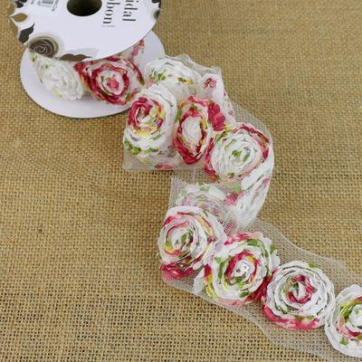 Floral Print Rosette Ribbon
