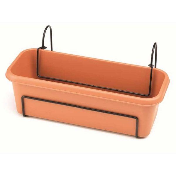 Stewart 60cm Balcony Trough Set - Terracotta