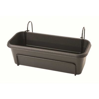 Stewart 40cm Balcony Trough Planter - Black