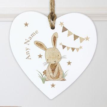 Hessian Rabbit Wooden Heart Decoration
