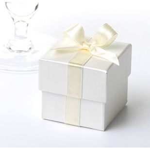 Cream Satin Ribbon Favour Box