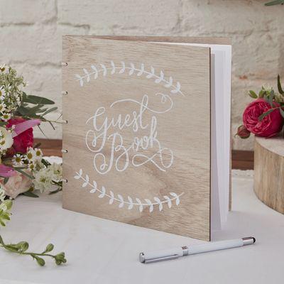 Wooden Bound Guest Book