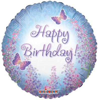 Happy Birthday Purple Lilacs Balloon (17970-18)