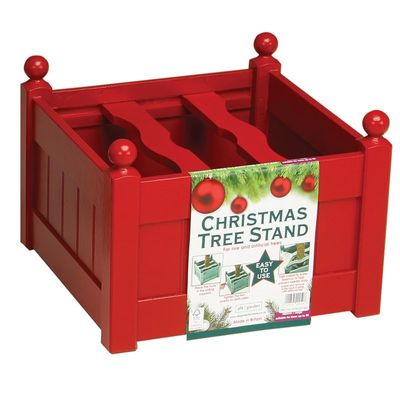 AFK Large Painted Christmas Tree Planter - Red