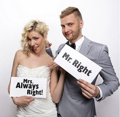 Mr Right Mrs Always Right prop