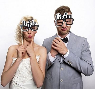 bride and groom glasses photo prop