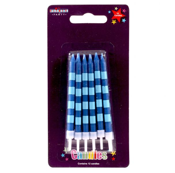 Blue stripey candles