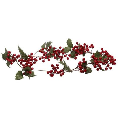 1.4m Red Berry Garland with Leaves