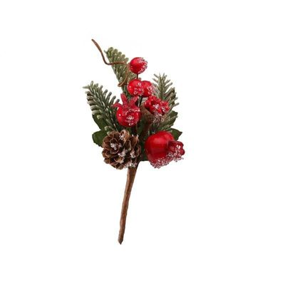 12cm Red Frosted Fruit Pick