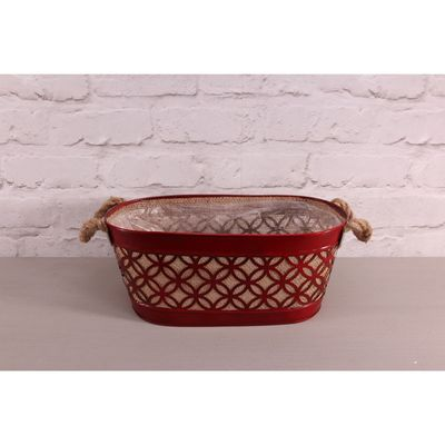 14cm Red Oval Hessian Planter