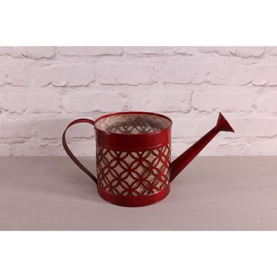 16cm Red Hessian Watering Can Planter