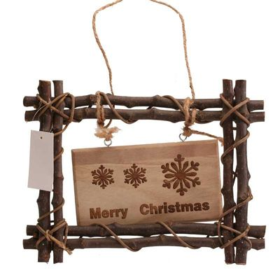 Hanging Wicker Xmas Sign