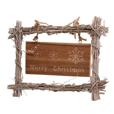 Hanging Wicker Xmas Sign - Woven