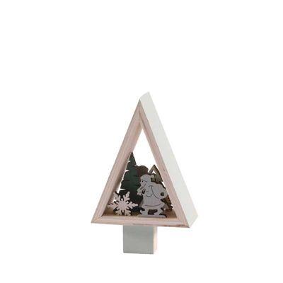 13cm Wooden Santa Standing Decoration - Pale Green