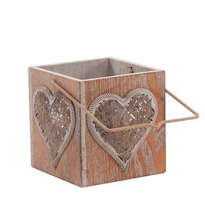 9cm Wooden Heart Lantern with Votive