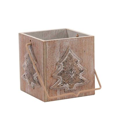 9cm Square Wooden Tree Lantern with Votive