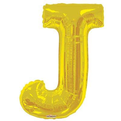 """34"""" Letter Balloon - J - Gold"""