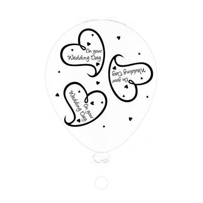 Wedding Day Heart Latex Balloons (8 pack)