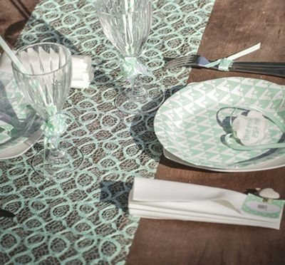 Mint Lace Table Runner