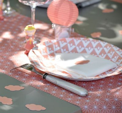 Coral Geometric Table Runner