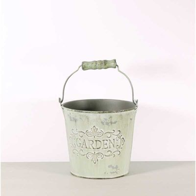 Distressed Green Zinc Bucket