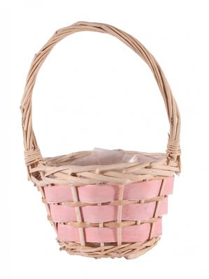 28cm Baby Pink Wood Chip Basket
