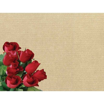 Red Roses Greeting Cards on Kraft Card (x50)